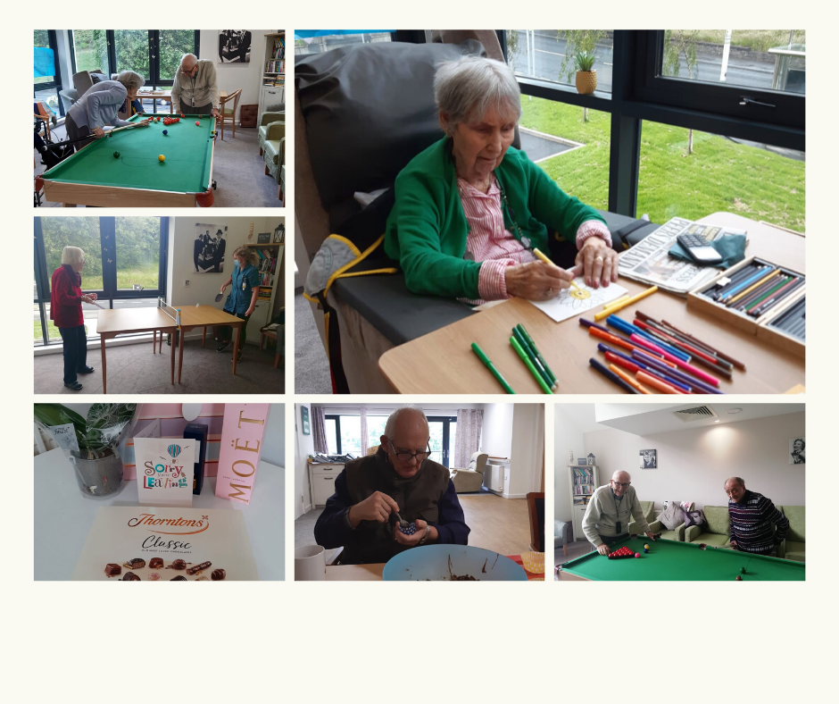 a collage showing a snooker game, ping pong match, drawing, baking and a leaving present